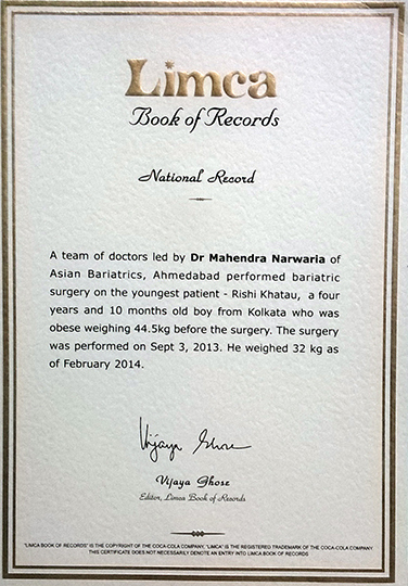 Limca Book of Record for Performed bariatric surgery on the youngest patient