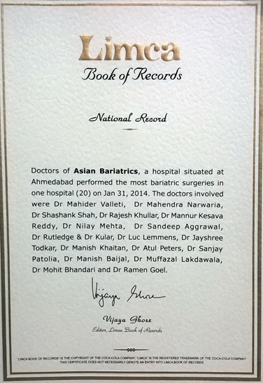 Limca Book of Record for Performed the most bariatric surgeries (20)