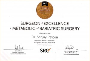 Dr. Sanjay Patolia has been awarded as Surgeon of Excellence in Metabolic and Bariatric Surgery (SOEMBS), by Surgical Review Corporation, USA.